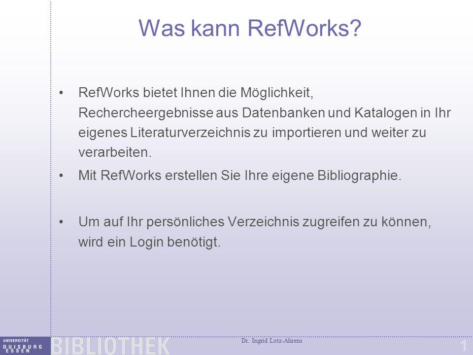 RefWorks Anmeldung http://www.refworks.com/
