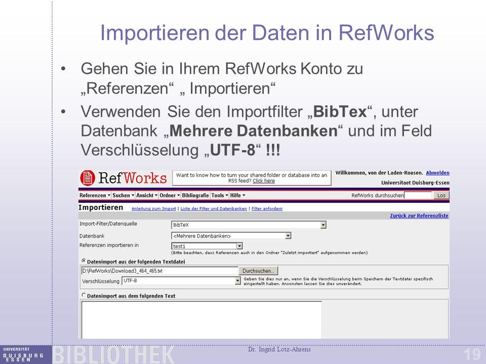 Möglichkeiten, Zitate in RefWorks zu übernehmen