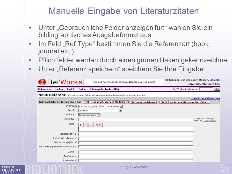 Suchmöglichkeiten in Ihren RefWorks Datenbanken