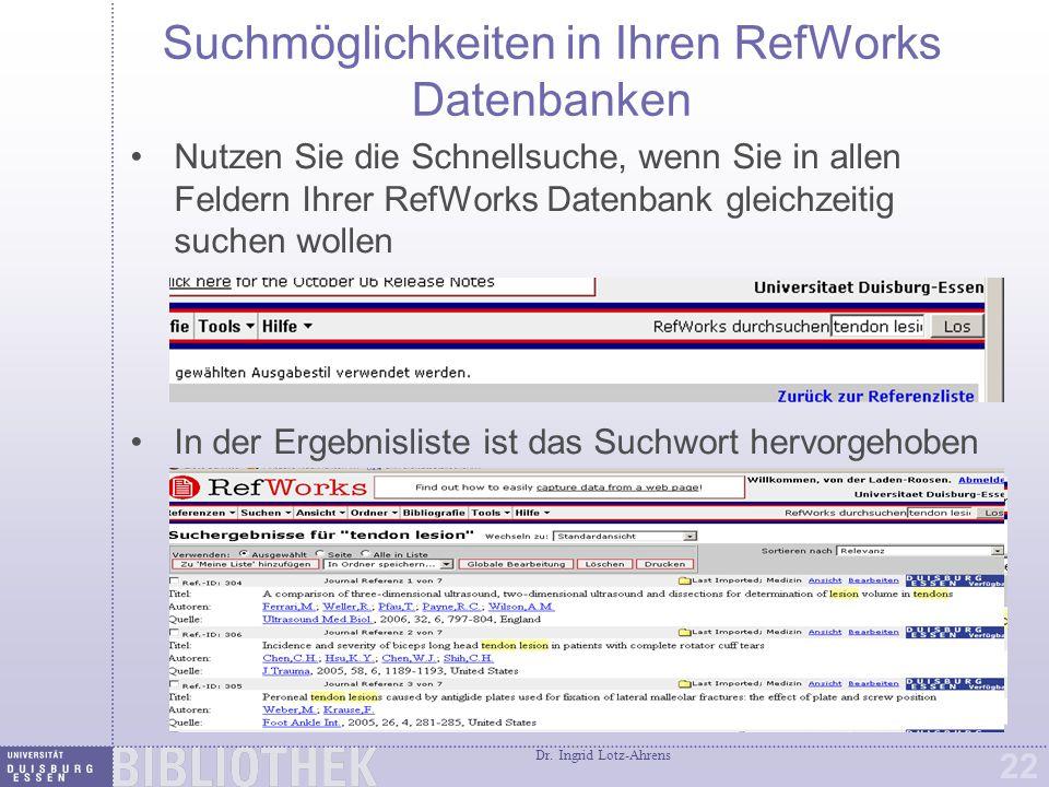 Verwaltungsmöglichkeiten Ihrer Daten in RefWorks