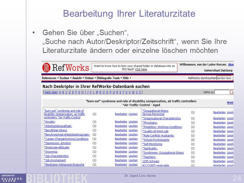 Bibliographien von einer Referenzliste (z. B. Ordner) erstellen