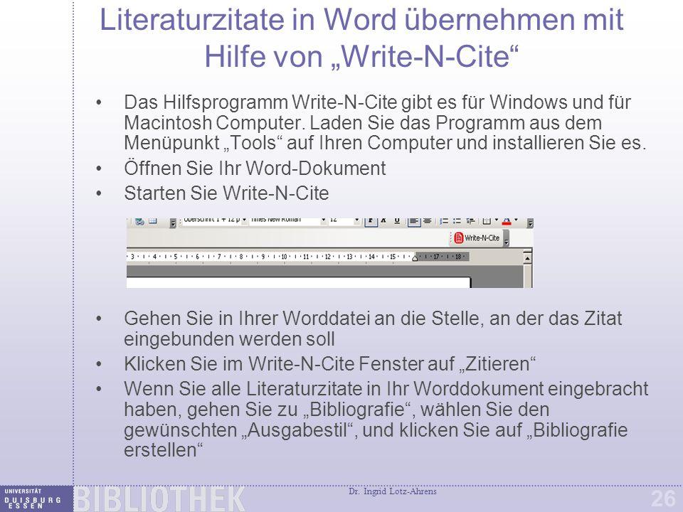 Literaturzitate mit One Line/Cite View übernehmen