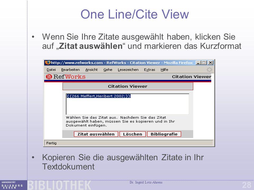 Eine Bibliographie mit One Line/Cite View erstellen
