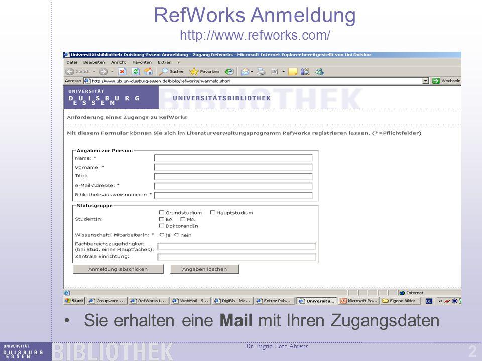 Erste Sitzung in RefWorks