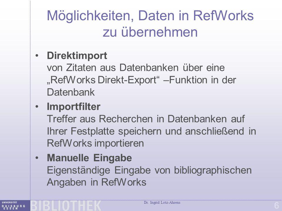 RefWorks Suchwerkzeug