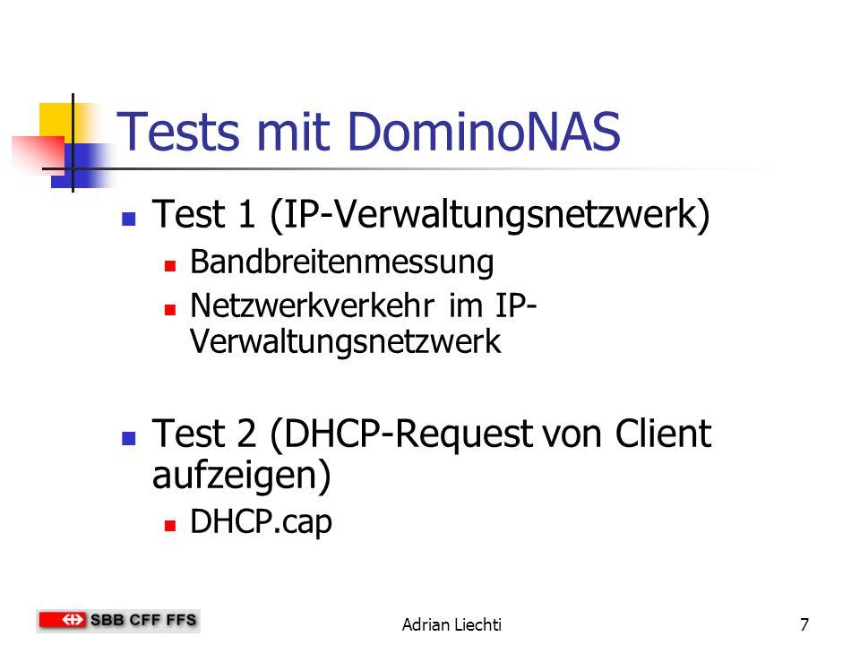 Tests mit DominoNAS Test 1 (IP-Verwaltungsnetzwerk)