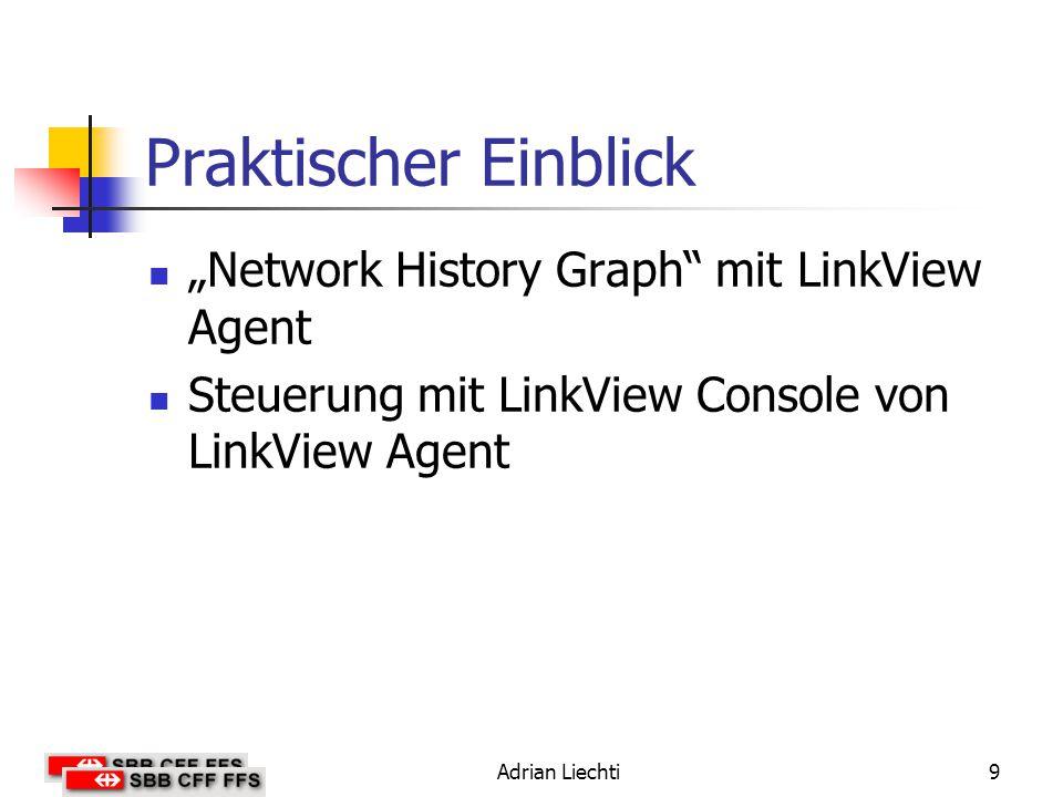 """Praktischer Einblick """"Network History Graph mit LinkView Agent"""