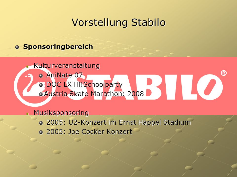 Vorstellung Stabilo Sponsoringbereich Kulturveranstaltung AniNate 07