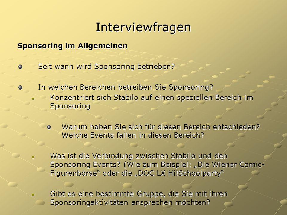 Interviewfragen Sponsoring im Allgemeinen