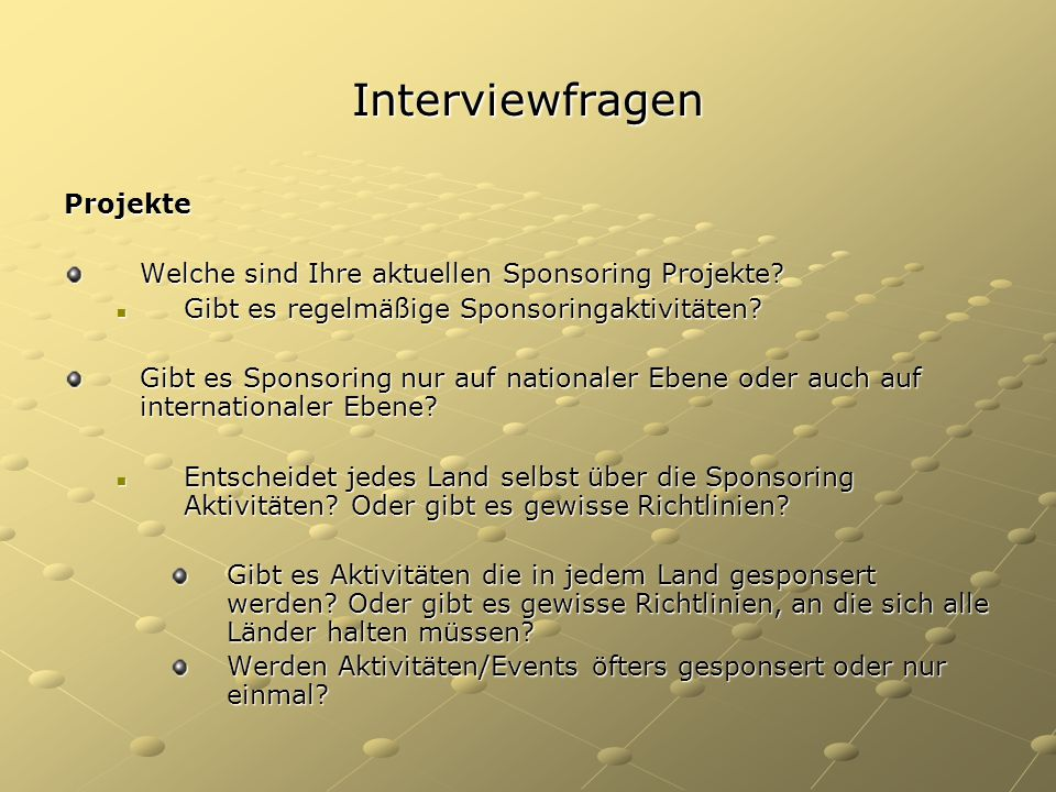 Interviewfragen Projekte