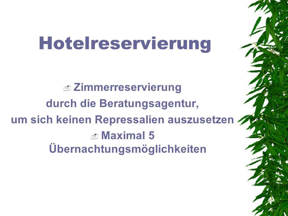Hotelreservierung Zimmerreservierung durch die Beratungsagentur,