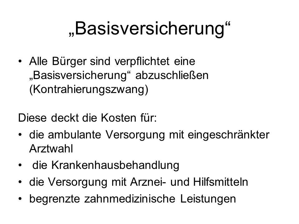 """""""Basisversicherung Alle Bürger sind verpflichtet eine """"Basisversicherung abzuschließen (Kontrahierungszwang)"""