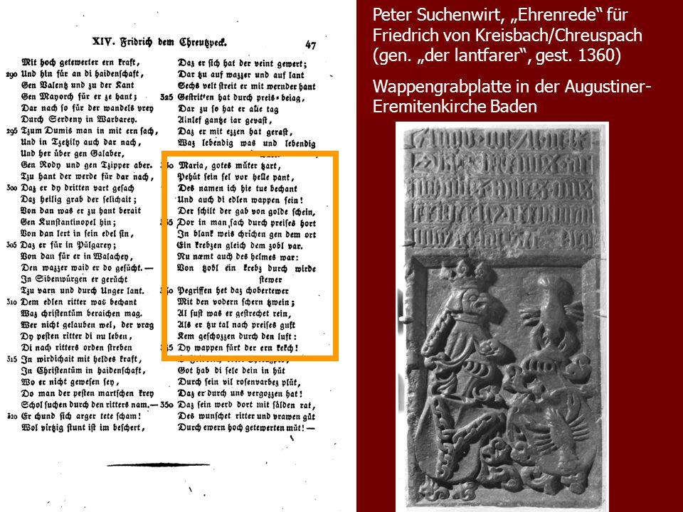 """Peter Suchenwirt, """"Ehrenrede für Friedrich von Kreisbach/Chreuspach (gen. """"der lantfarer , gest. 1360)"""