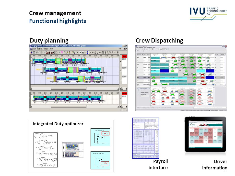 Crew management Functional highlights
