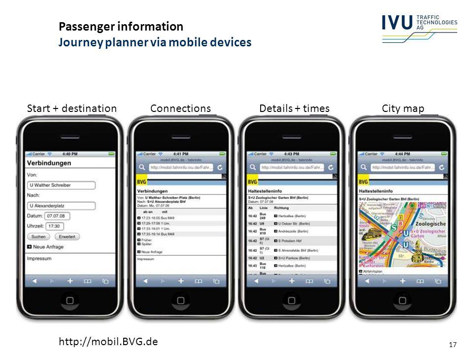 Passenger information Journey planner via mobile devices