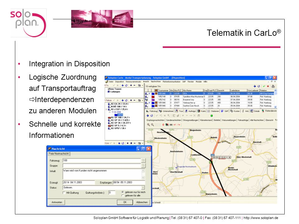 Telematik in CarLo® Integration in Disposition
