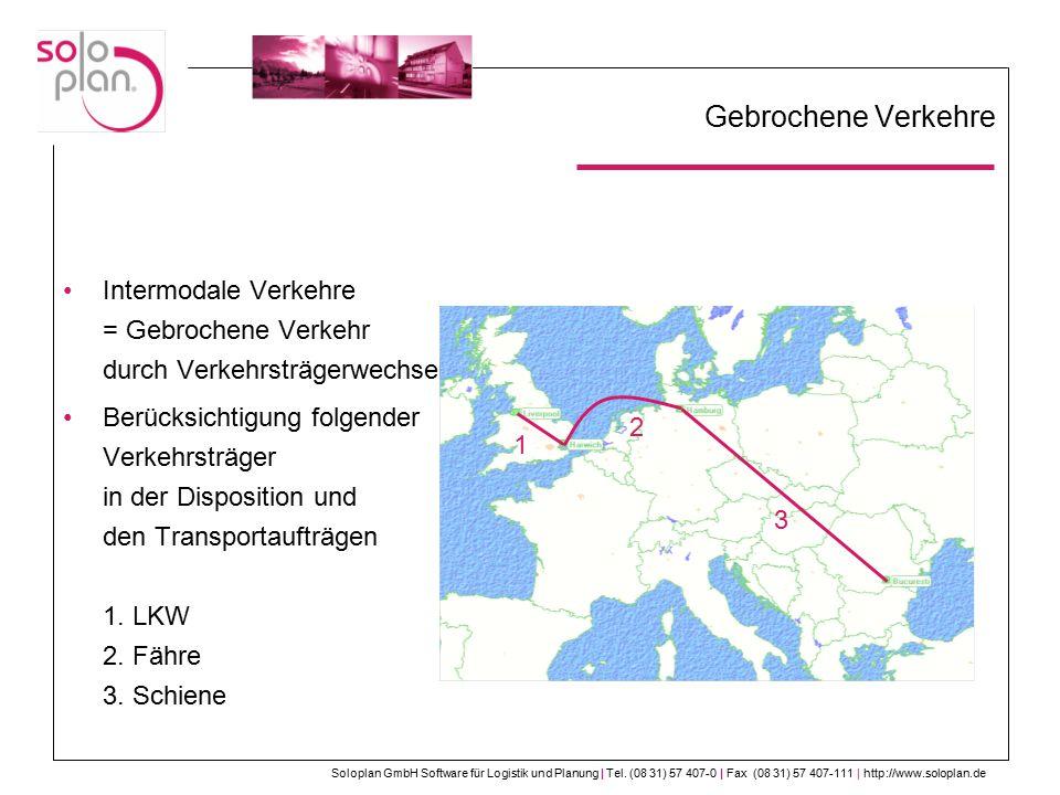Gebrochene Verkehre Intermodale Verkehre = Gebrochene Verkehr durch Verkehrsträgerwechsel.