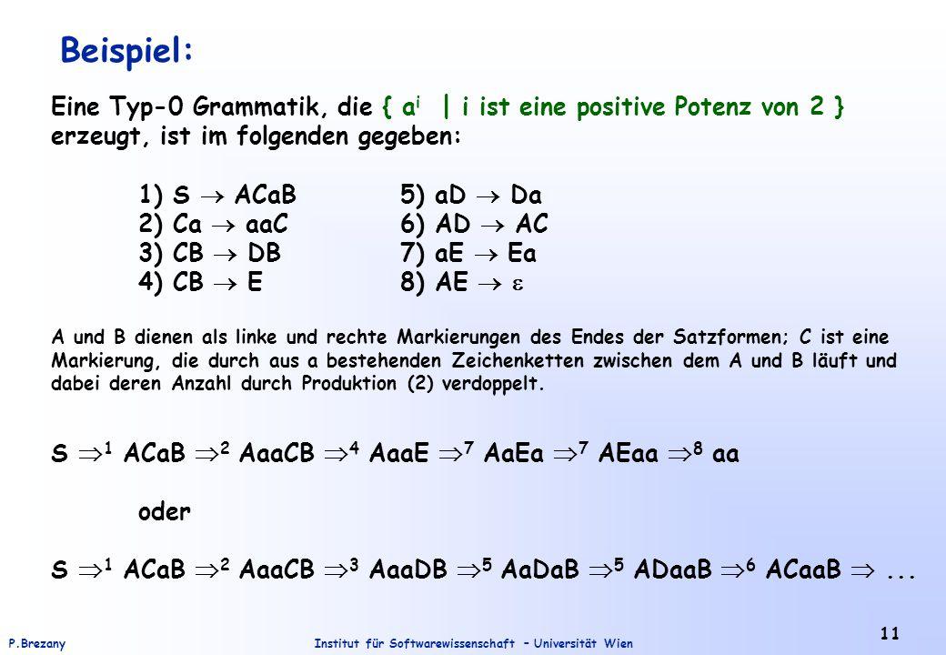 Beispiel: Eine Typ-0 Grammatik, die { ai | i ist eine positive Potenz von 2 } erzeugt, ist im folgenden gegeben: