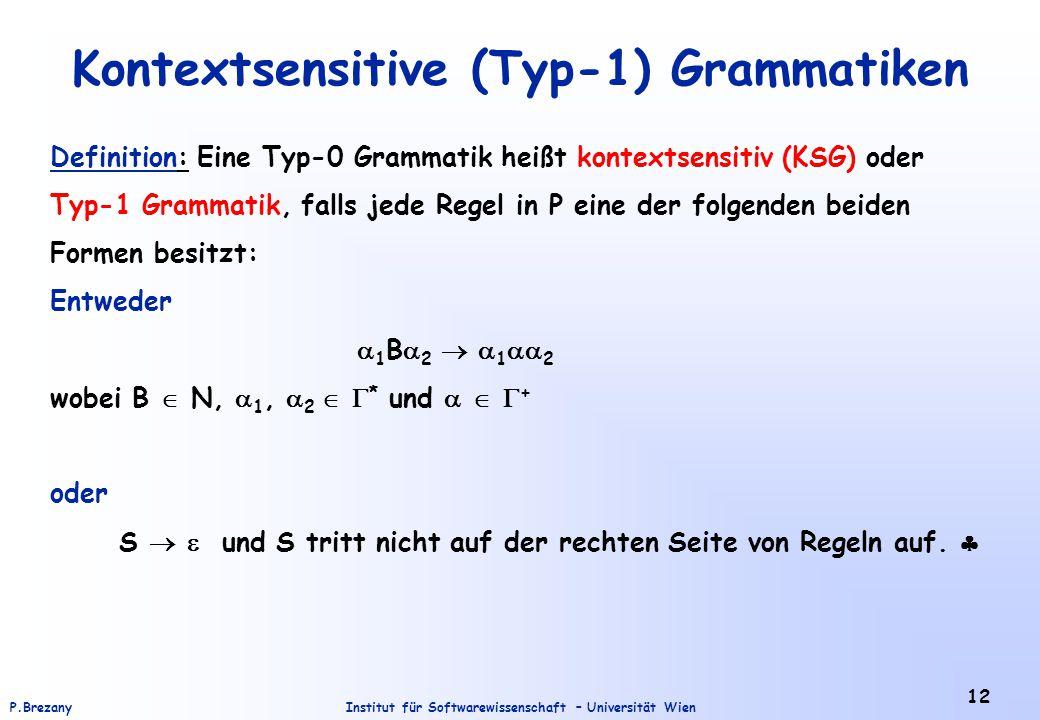 Kontextsensitive (Typ-1) Grammatiken
