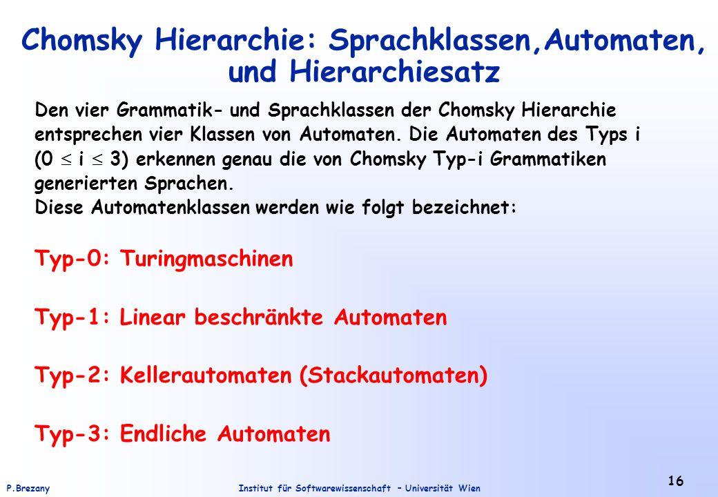 Chomsky Hierarchie: Sprachklassen,Automaten, und Hierarchiesatz