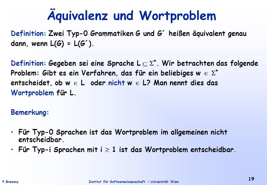 Äquivalenz und Wortproblem