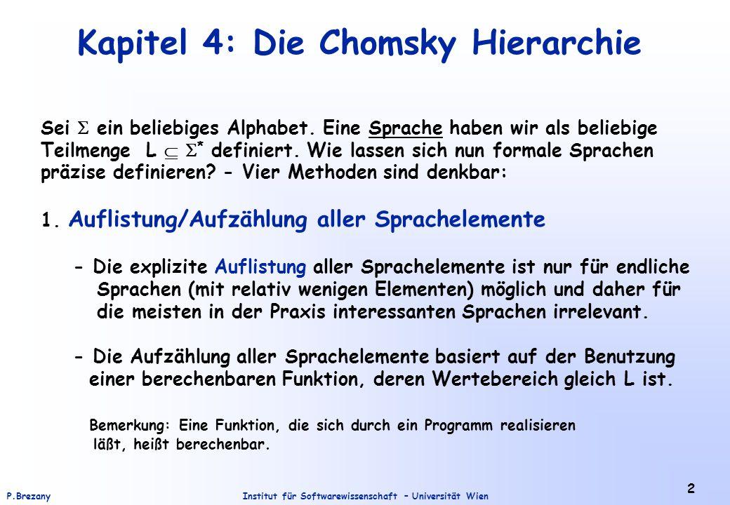 Kapitel 4: Die Chomsky Hierarchie