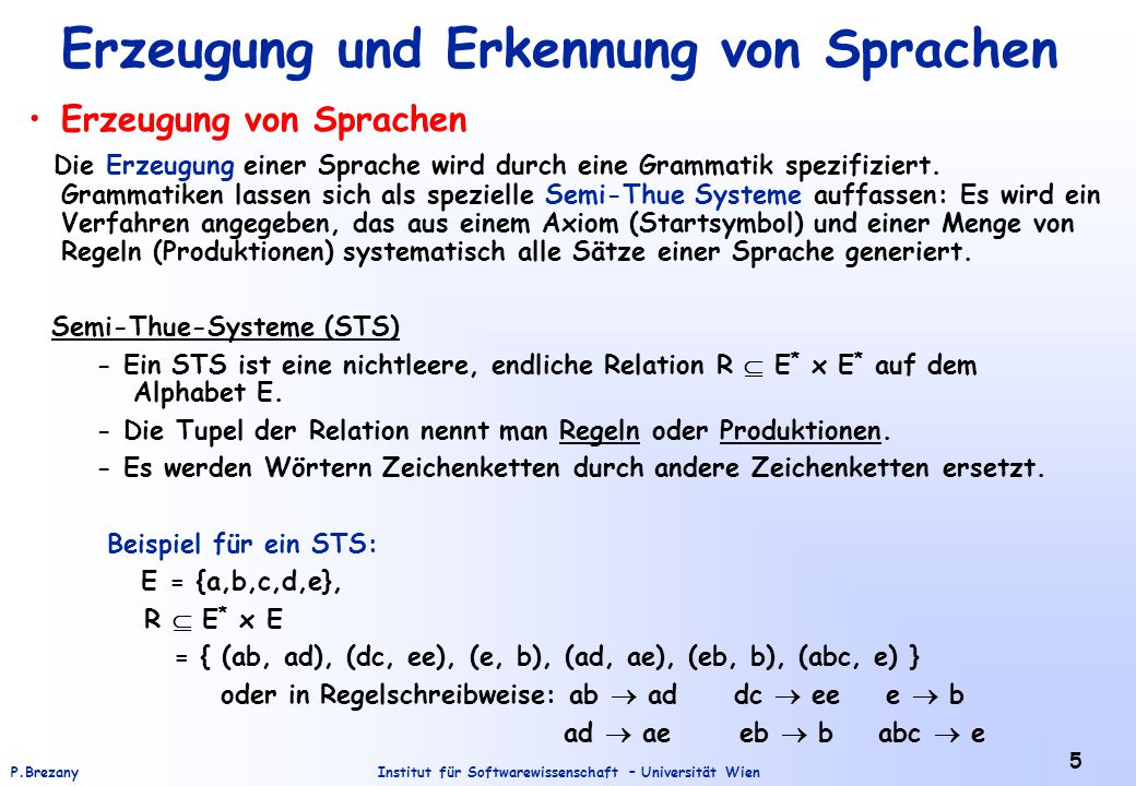 Erzeugung und Erkennung von Sprachen