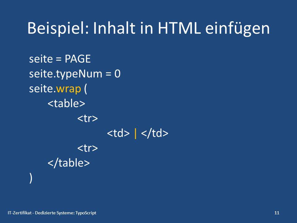 Beispiel: Inhalt in HTML einfügen