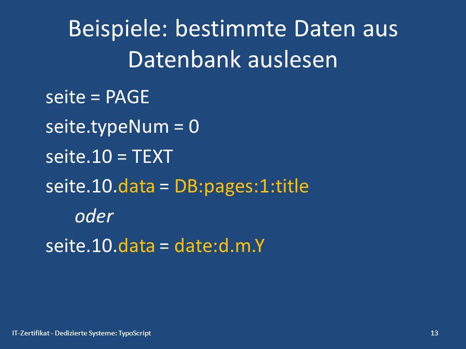 Beispiele: bestimmte Daten aus Datenbank auslesen