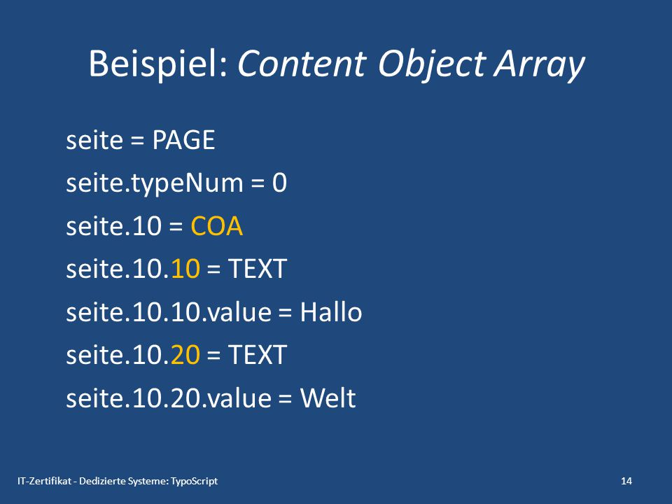 Beispiel: Content Object Array
