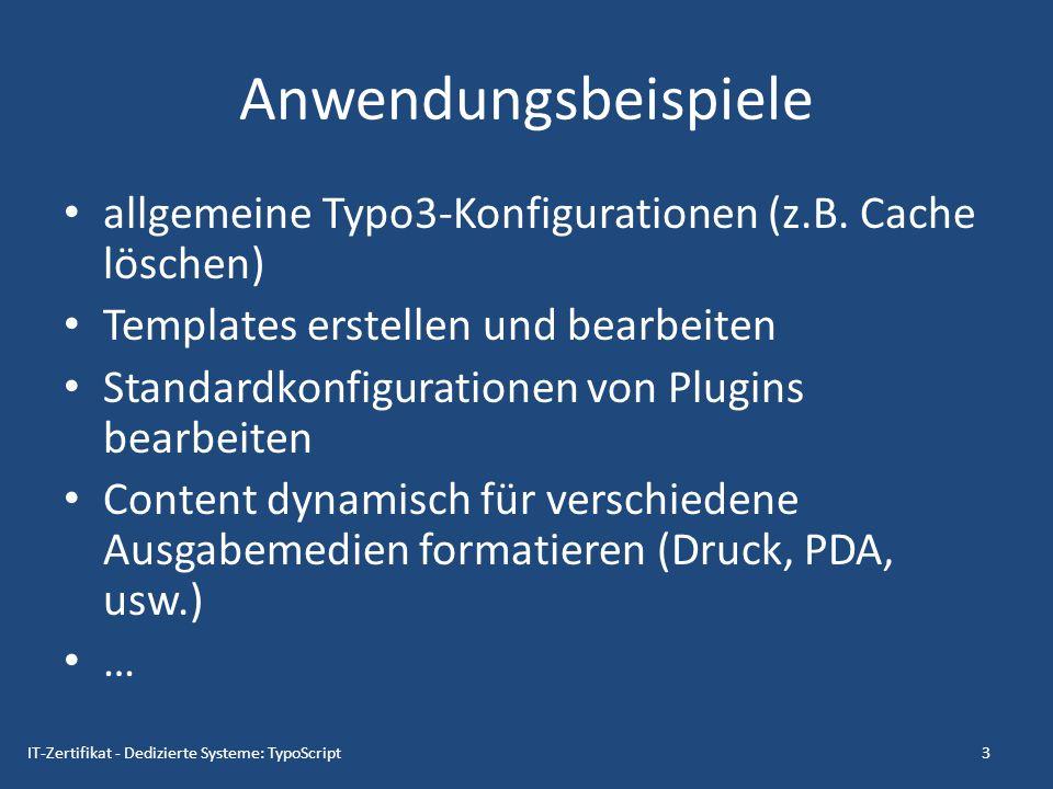 Anwendungsbeispiele allgemeine Typo3-Konfigurationen (z.B. Cache löschen) Templates erstellen und bearbeiten.