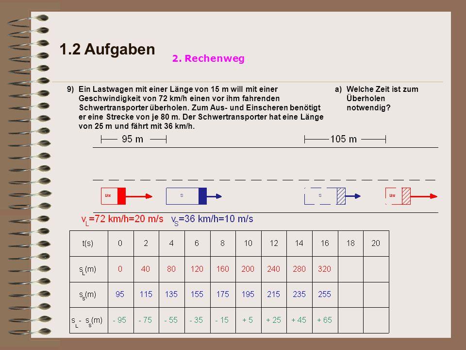 1.2 Aufgaben 2. Rechenweg. 9)