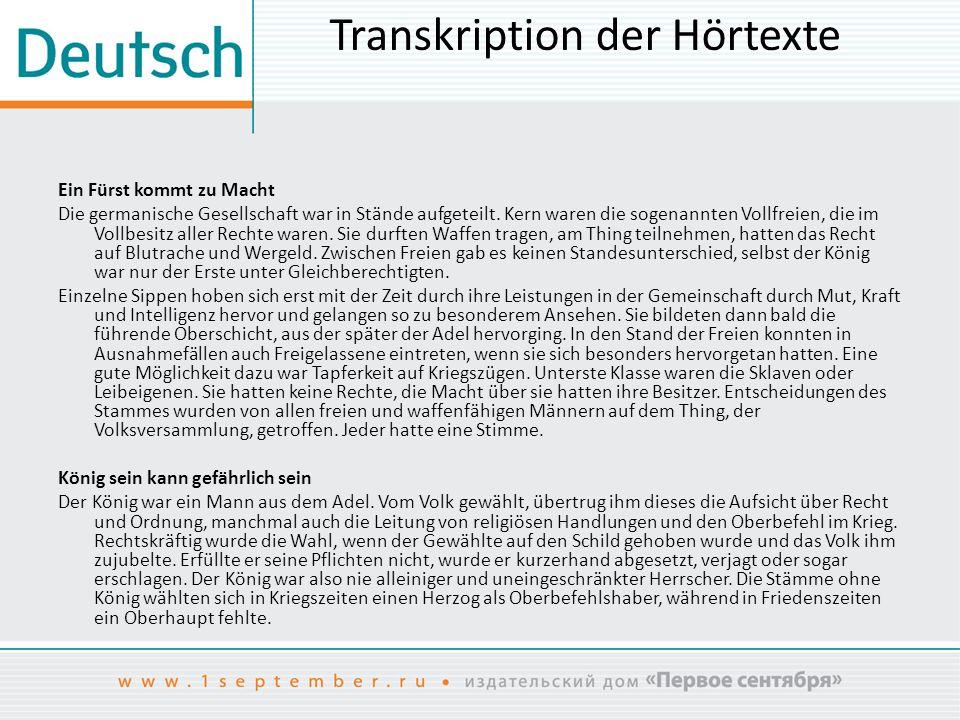 Transkription der Hörtexte