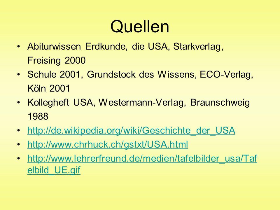Quellen Abiturwissen Erdkunde, die USA, Starkverlag, Freising 2000