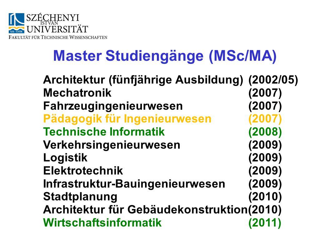 Master Studiengänge (MSc/MA)