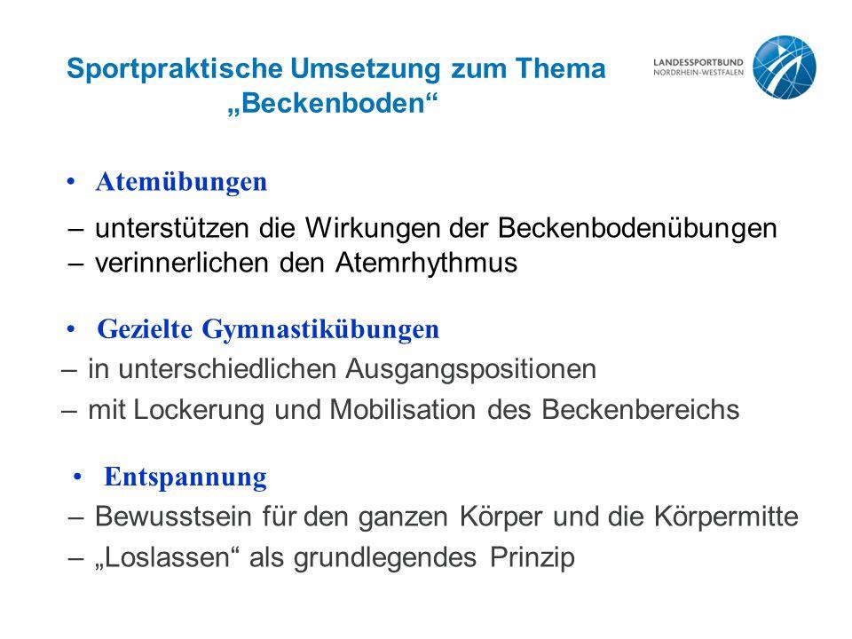 """Sportpraktische Umsetzung zum Thema """"Beckenboden"""
