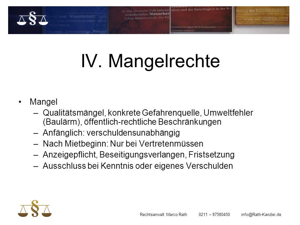 IV. Mangelrechte Mangel