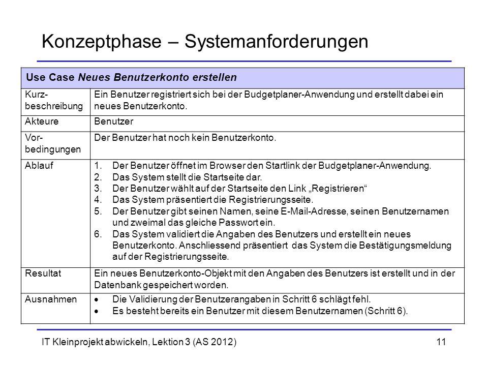 Konzeptphase – Systemanforderungen