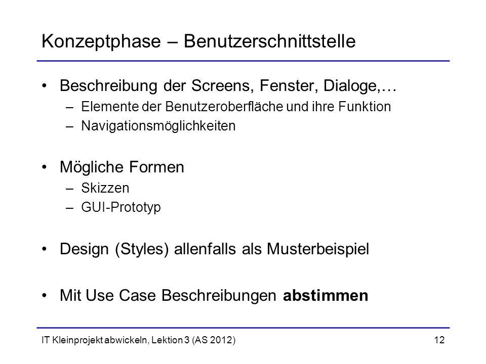 Konzeptphase – Benutzerschnittstelle