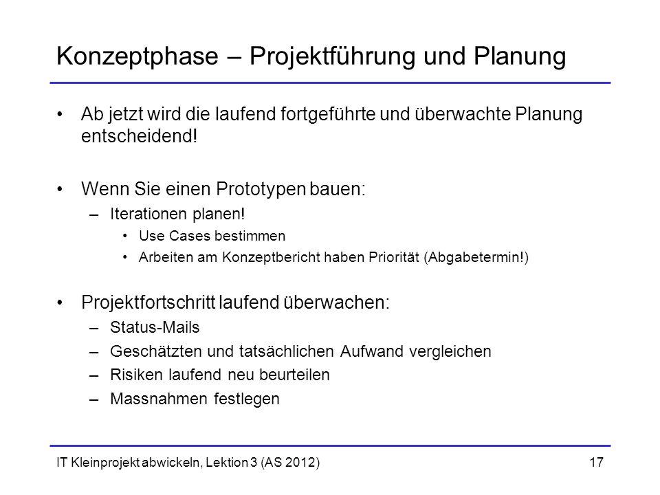 Konzeptphase – Projektführung und Planung