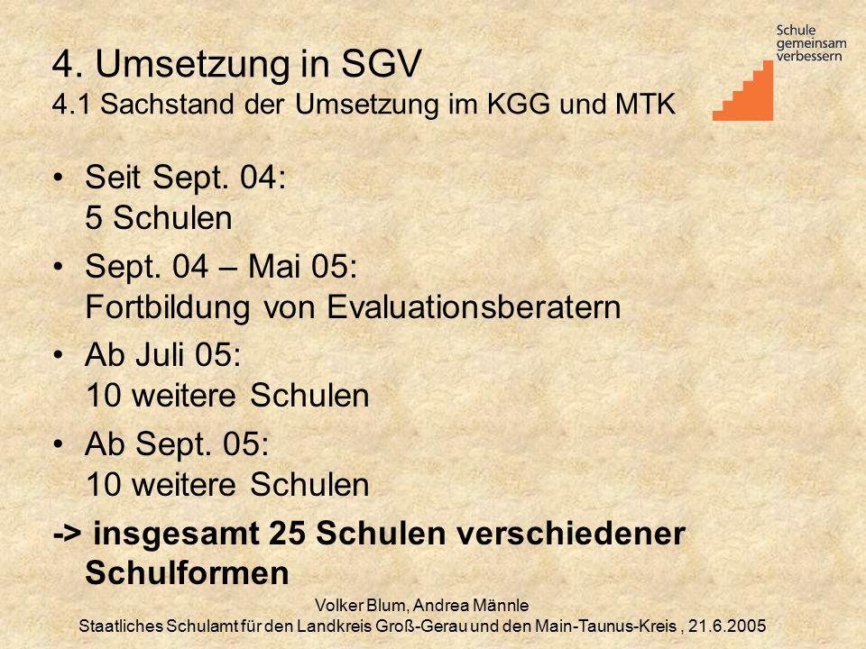 4. Umsetzung in SGV 4.1 Sachstand der Umsetzung im KGG und MTK