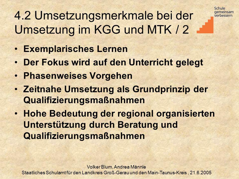 4.2 Umsetzungsmerkmale bei der Umsetzung im KGG und MTK / 2