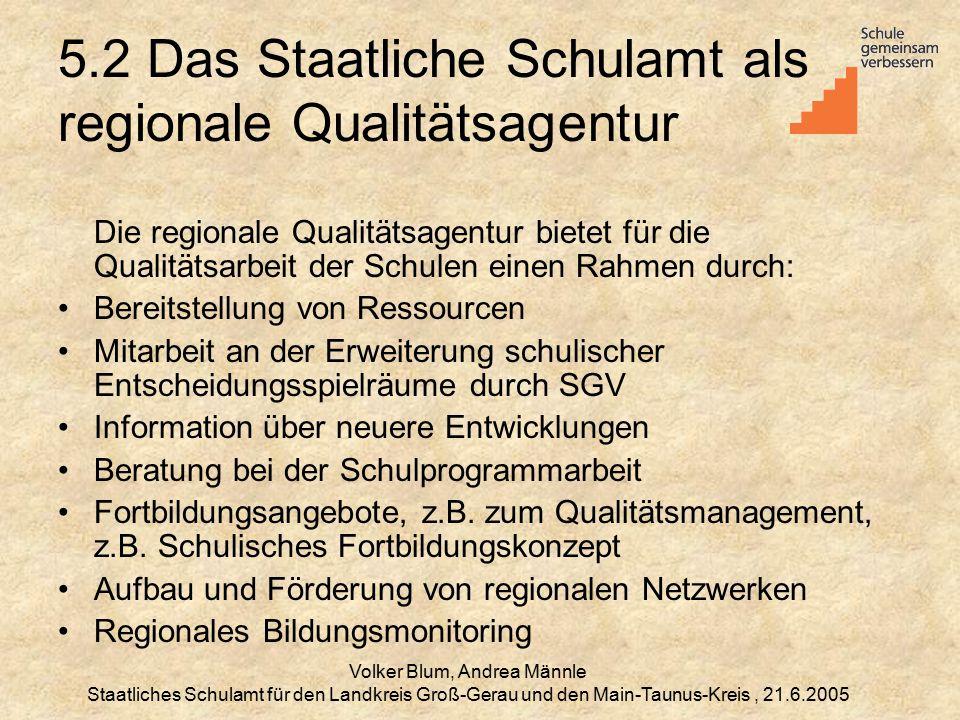 5.2 Das Staatliche Schulamt als regionale Qualitätsagentur