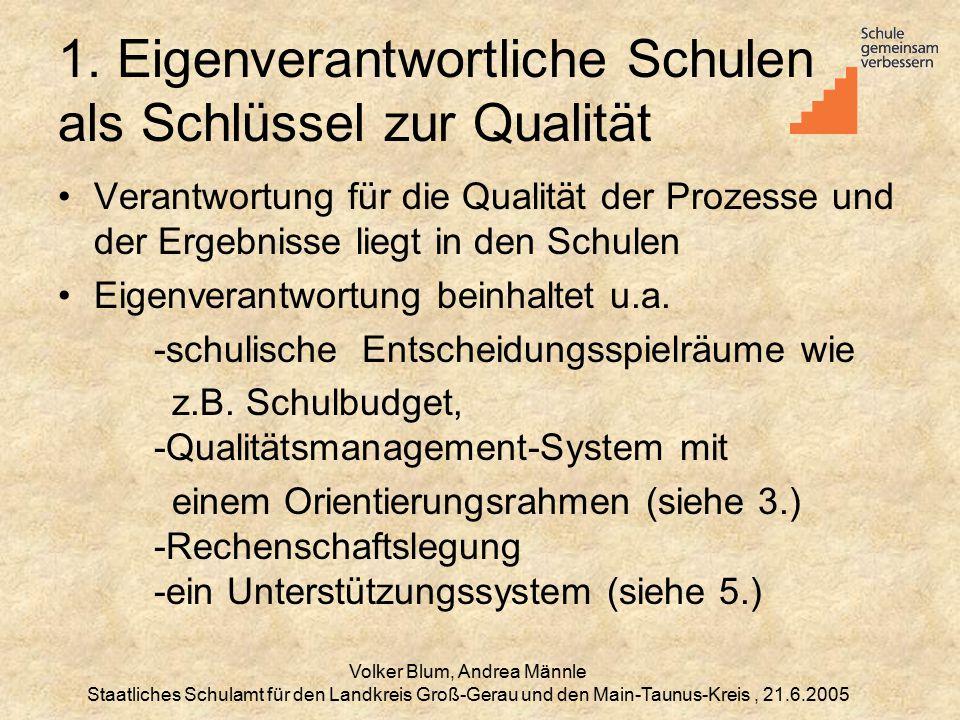 1. Eigenverantwortliche Schulen als Schlüssel zur Qualität
