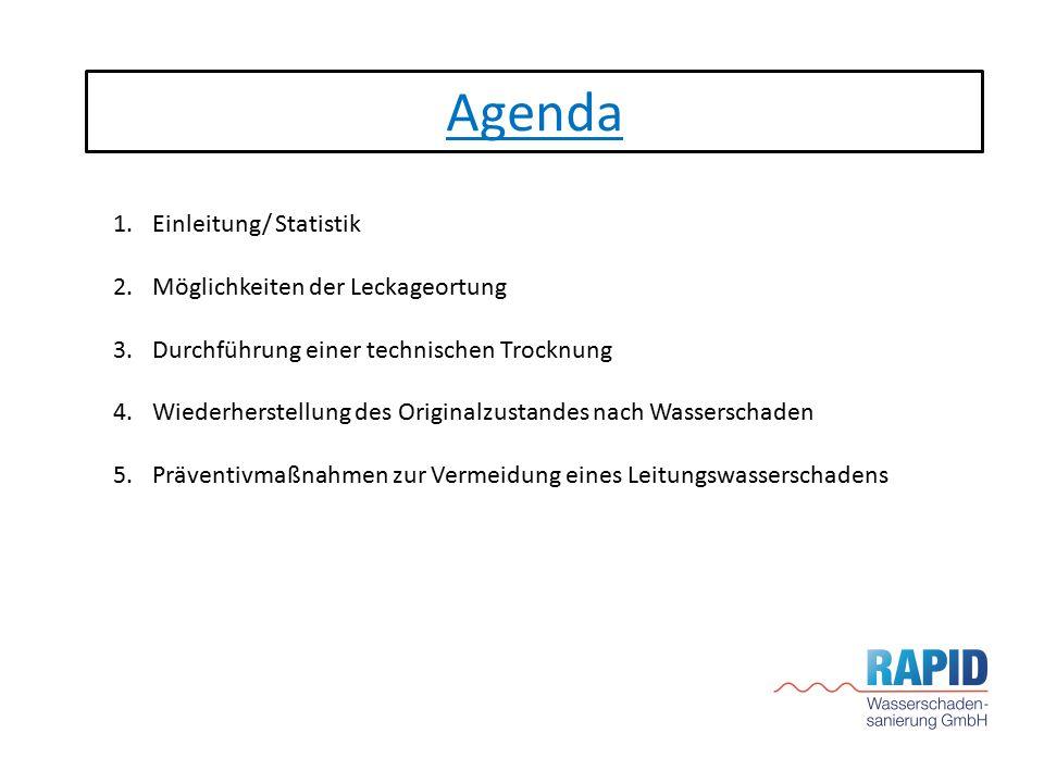 Agenda Einleitung/ Statistik Möglichkeiten der Leckageortung