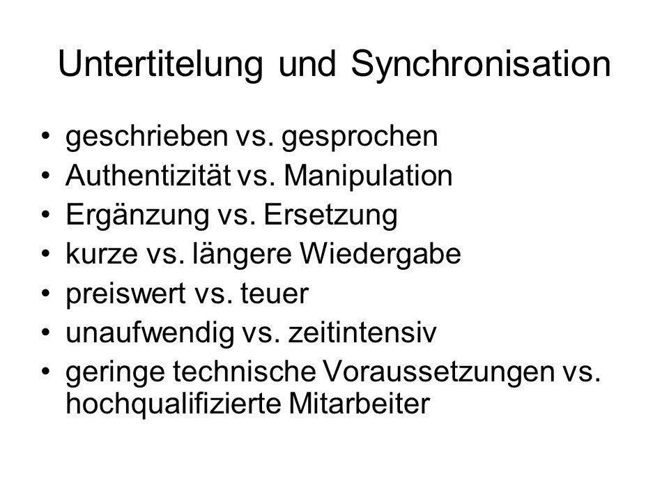 Untertitelung und Synchronisation