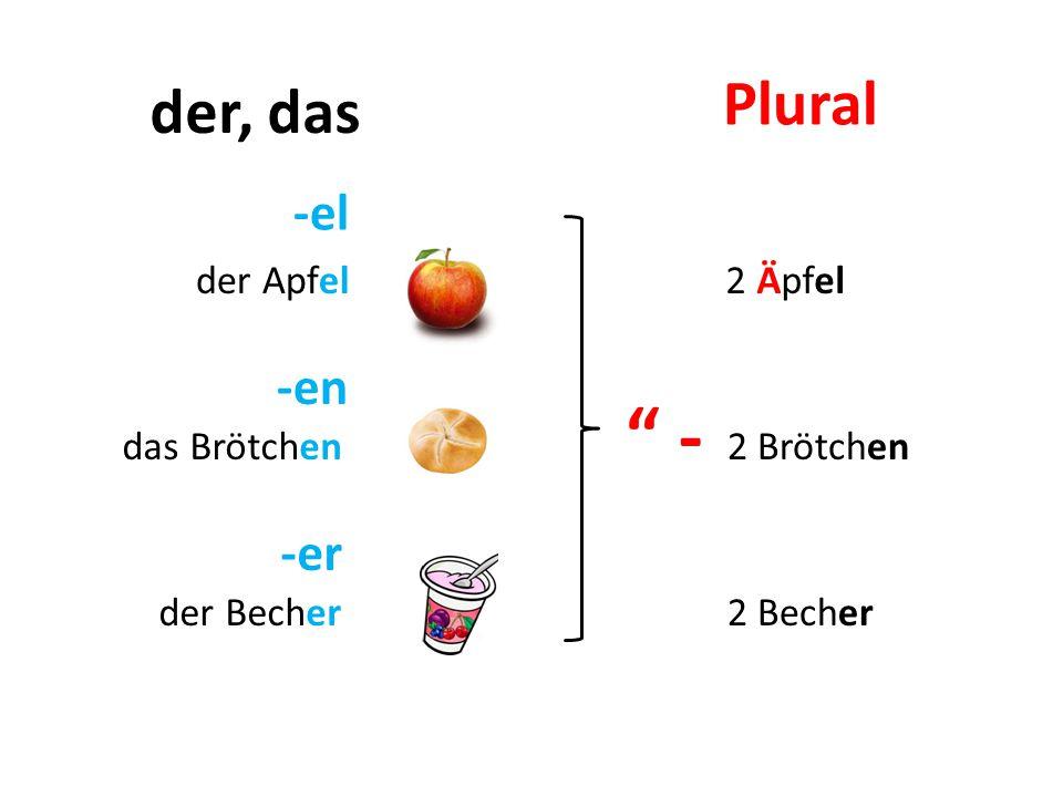 - Plural der, das -el -en -er der Apfel 2 Äpfel das Brötchen