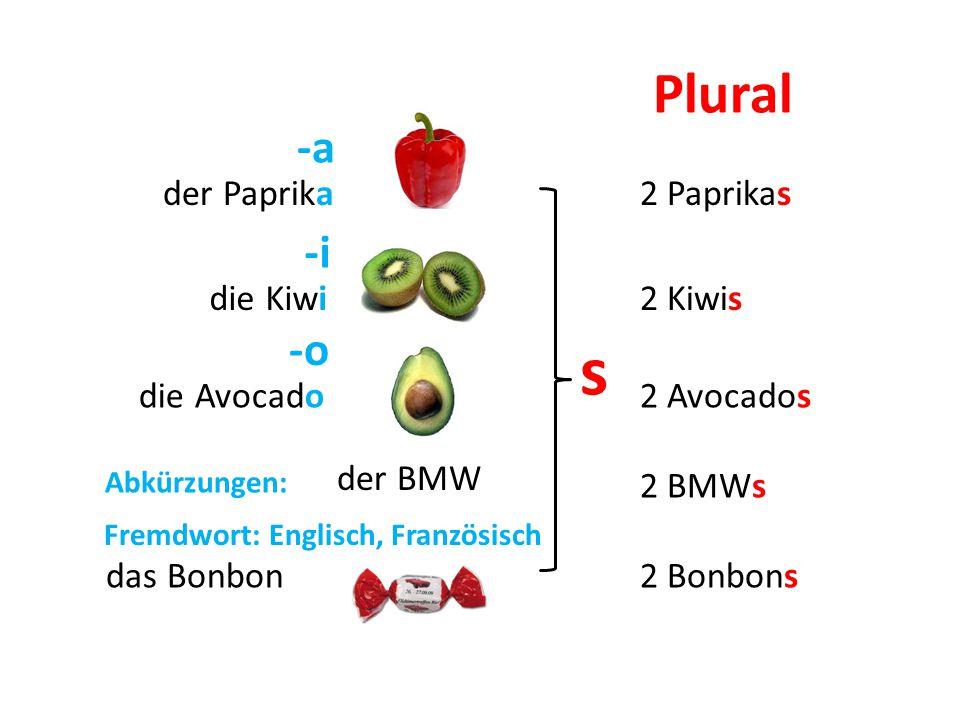 s Plural -a -i -o der Paprika 2 Paprikas die Kiwi 2 Kiwis die Avocado