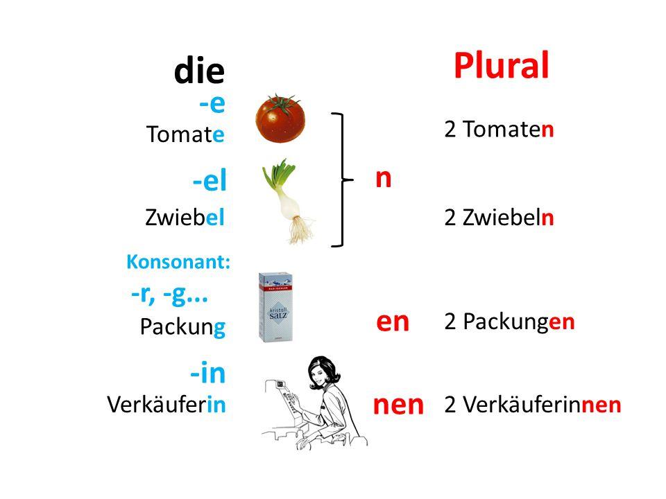 Plural die -e n -el en -in nen 2 Tomaten Tomate Zwiebel 2 Zwiebeln