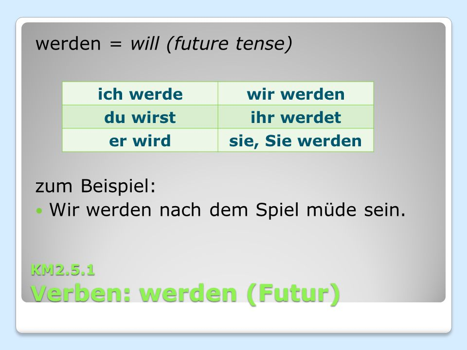 KM2.5.1 Verben: werden (Futur)